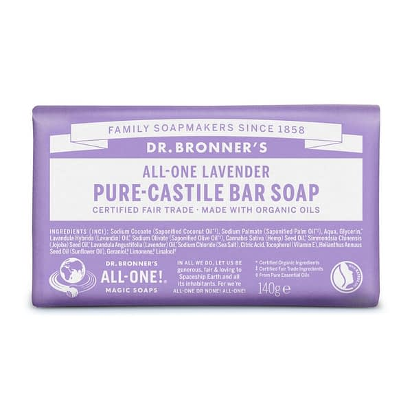 Dr. Bronner's All-One Pure Castile Bar Soap Lavender 140g product image