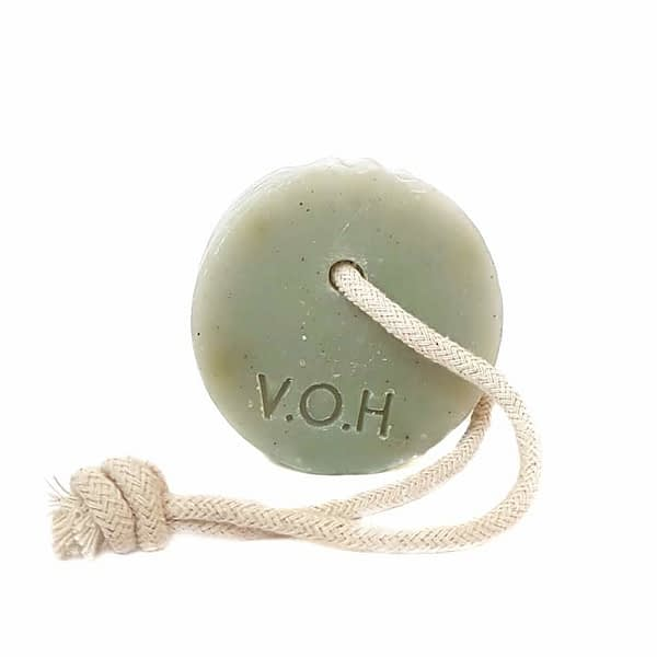 voh blue clay & lavender soap on a rope 90g