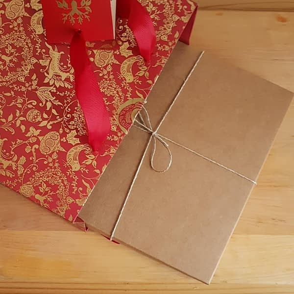 Gift box in a red gift bag