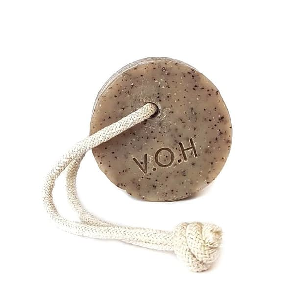 voh coffee & grapefruit scrub soap on a rope 90g