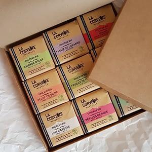 Gift box with 9 La Corvette organic soaps