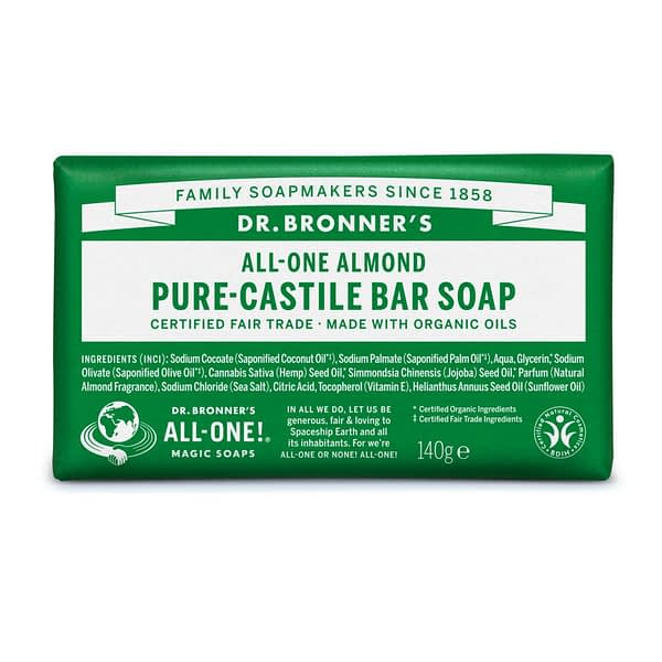 Dr. Bronner's All-One Pure Castile Bar Soap Almond 140g product image