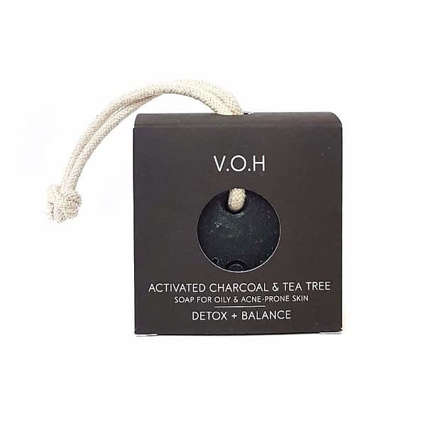 voh activated charcoal & tea tree soap on a rope 90g