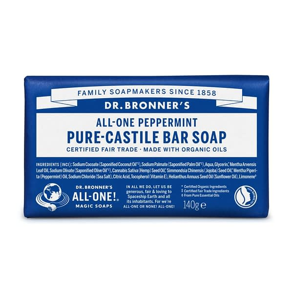 Dr. Bronner's All-One Pure Castile Bar Soap Peppermint 140g product image