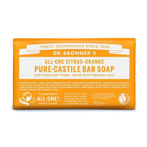 Dr. Bronner's All-One Pure Castile Bar Soap Citrus Orange 140g product image