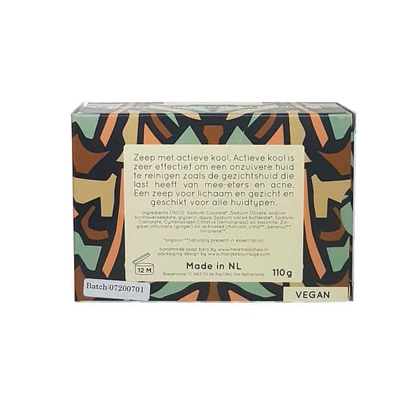 HelemaalShea Activated Charcoal & Lemongrass body and face bar