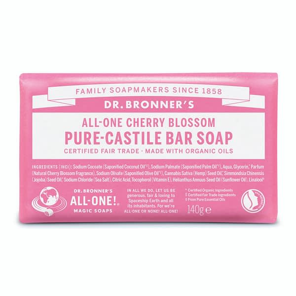 Dr. Bronner's All-One Pure Castile Bar SOap Cherry Blossoms 140g product image