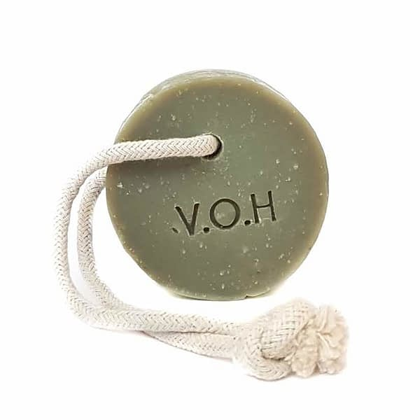 voh green clay & bergamot soap on a rope 90g