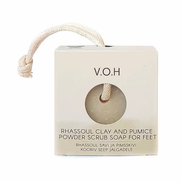 voh scrub soap on a rope with rhassoul clay and pumice powder for feet 90g
